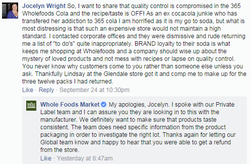 Example Whole Foods Social Media Post